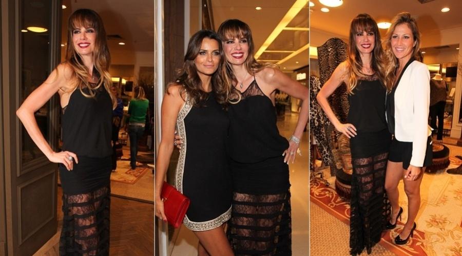 5.jan.2013 - Luciana Gimenez, Fernanda Motta e Ellen Jabour prestigiaram o lançamento de uma grife feminina em um shopping em São Paulo