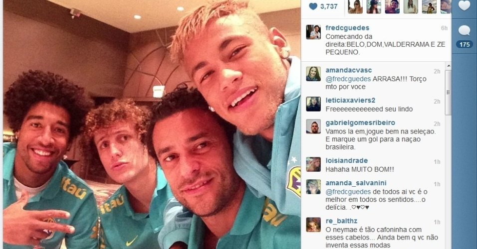 Dante, David Luiz, Fred e Neymar na seleo brasileira