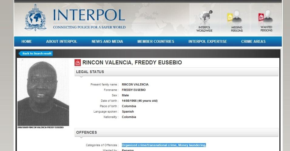 Rincón aparece no site da Interpol