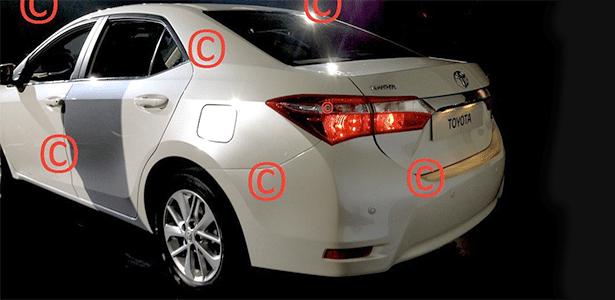 Traseira do suposto Toyota Corolla 2014, em foto publicada no site Carscoop