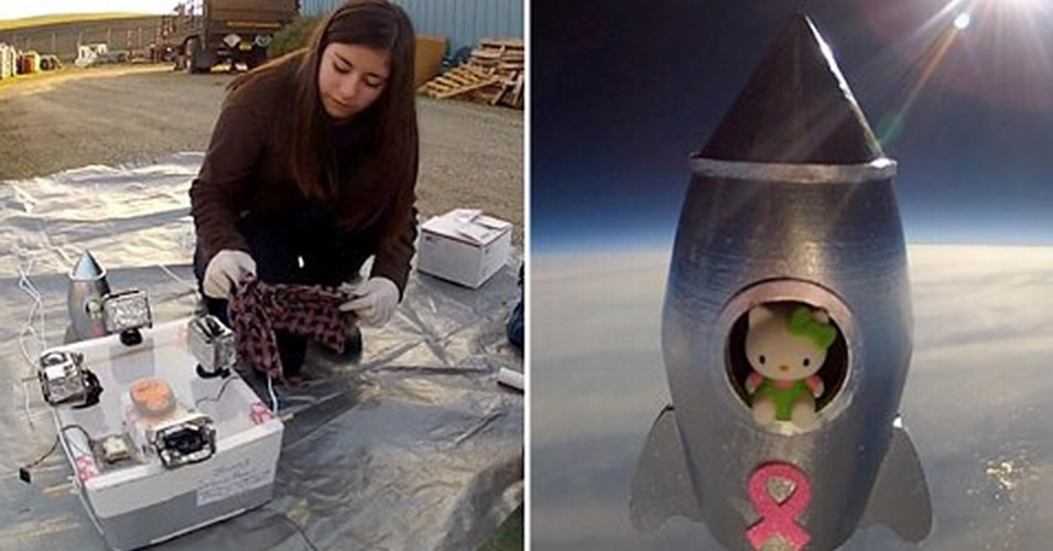 6.fev.2013 - Lauren Rojas, aluna da 7ª série, enviou uma Hello Kitty para o espaço depois de montar o seu próprio foguete para um projeto de ciências da escola. A boneca foi lançada a quase 30 quilômetros de altitude, chegando à estratosfera da Terra, e, depois de cair, foi resgata no topo de uma árvore