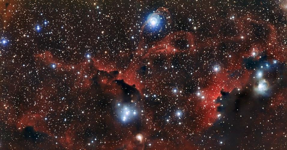 6.fev.2013 - Nuvens vermelhas repletas de poeira e hidrogênio gasoso fazem as vezes de 'asas' da Nebulosa da Gaivota, que 'voa' a cerca de 3.700 anos-luz de distância da Terra, entre as constelações do Cão Maior e do Unicórnio. Já a cabeça do animal é formada por uma grande nuvem de gás catalogada como Sharpless 2-292, enquanto as jovens estrelas azuis viram os olhos. A nova imagem, divulgada pelo Observatório Europeu do Sul (ESO, na sigla em inglês), foi feita no Observatório de La Silla, no Chile