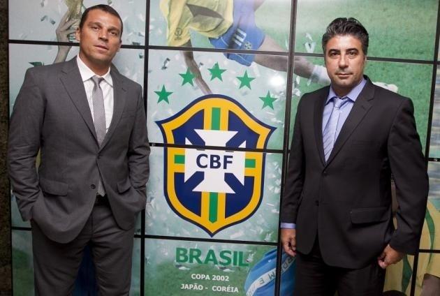 Maurício Copertino ao lado de Gallo na seleção brasileira de base. Como jogador, ambos atuaram juntos no Santos