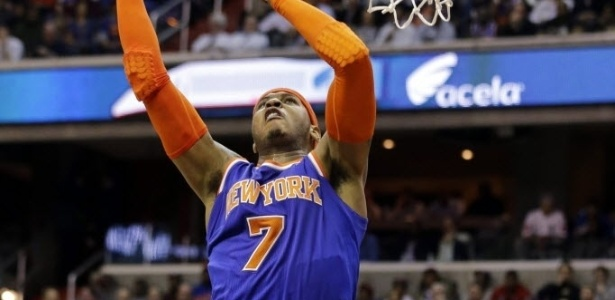 07.fev.2013 - Carmelo Antony faz jogada na partida entre New York Knicks e Washington Wizards