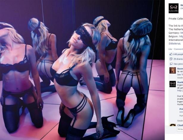 Sylvie van der Vaart posa para campanha de Valentine's Day da grife de lingerie Hunkemöller