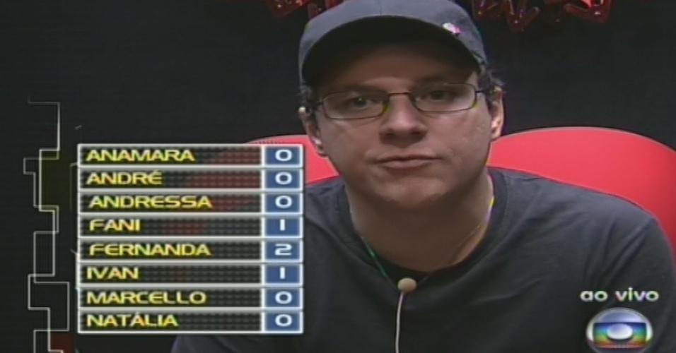 10.fev.2013 - Ivan vota em Fernanda no quinto paredão do