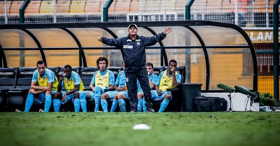 11.fev.2013-Técnico Muricy Ramalho orienta jogadores do Santos  durante partida contra o Paulista no Pacaembu