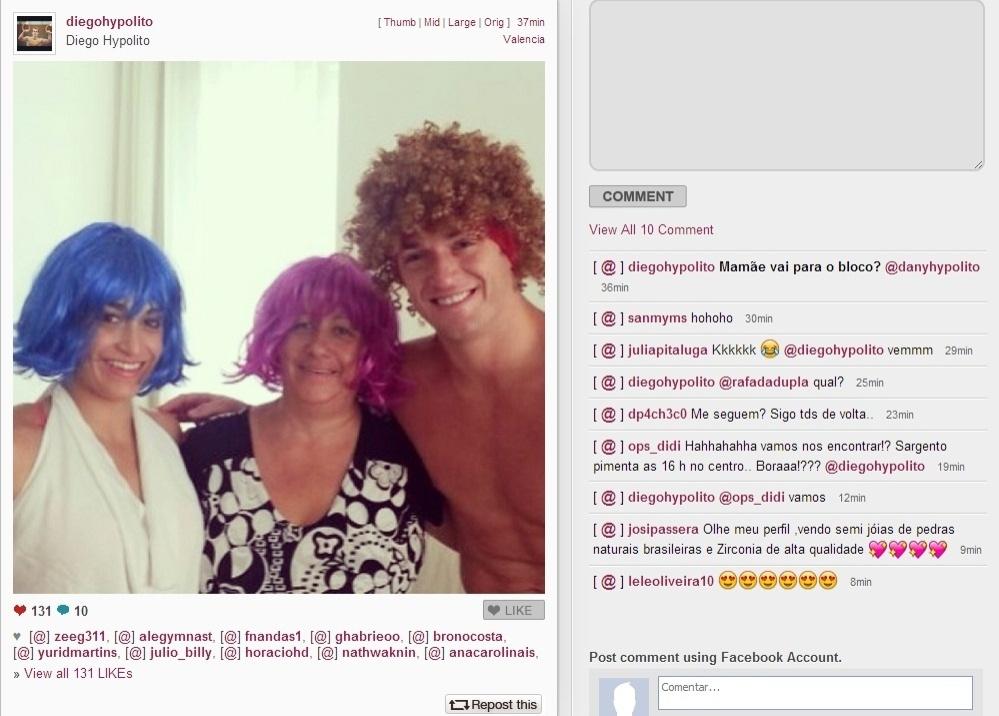 11.fev.2013- Diego e Daniele Hypólito postam foto de peruca ao lado da mãe e brincam: