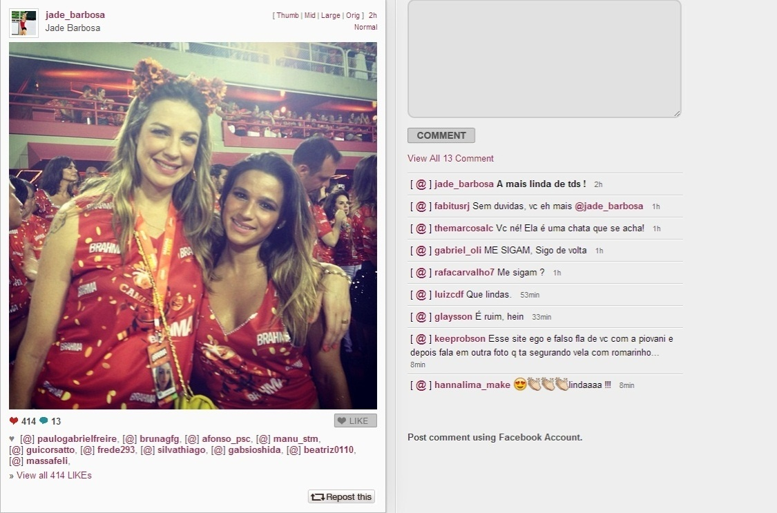 11.fev.2013- Jade Barbosa posta foto ao lado de Luana Piovani no Carnaval de So Paulo