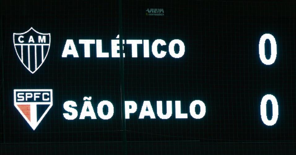 13.fev.2013 - Placar eletrônico do estádio Independência anuncia a partida entre Atlético-MG e São Paulo. As equipes se enfrentam pela rodada de estreia da fase de grupos da Libertadores