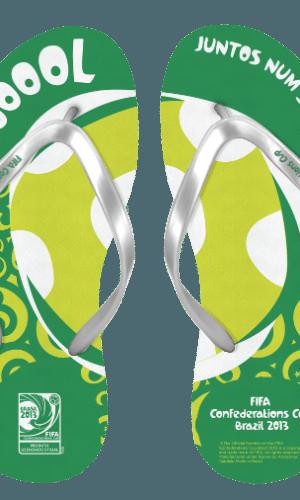 As sandálias da Copa das Confederações têm preço de venda entre R$ 39,90 e R$ 59,90