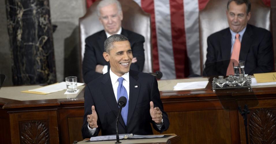 13.fev.2013 - O presidente dos Estados Unidos, Barack Obama, prometeu, durante discurso ao Congresso, que tomará 'medidas executivas' para combater os efeitos da mudança climática