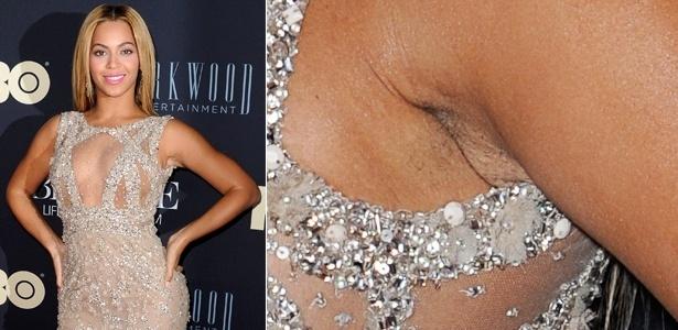"""12.fev.2013 - Beyoncé se decuida e mostra braço com pelos na pré-estreia de seu documentário """"Life Is But A Dream"""", em Nova York"""