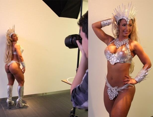 14.fev.2013 - Na Europa para uma série de shows, a funkeira Valesca Popozuda concede entrevista e participa de uma seção de fotos para uma publicação na Suíça