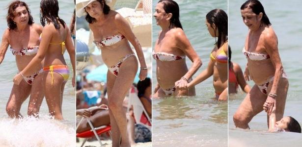 A atriz Betty Faria brinca com a neta na praia do Leblon, que fica na Zona Sul do Rio de Janeiro
