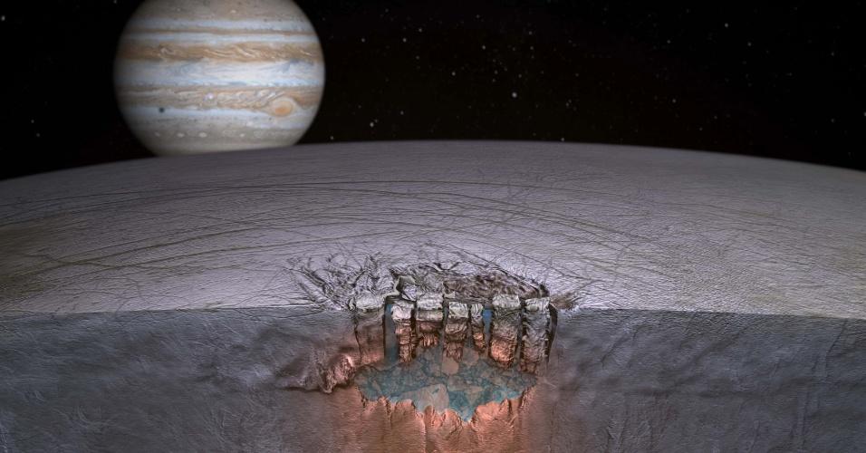 18.fev.2013 - Concepção artísitica mostra um oceano que está debaixo da camada de gelo na superfície da Europa, uma lua do planeta Júpiter. Segundo cientistas da Nasa (Agência Espacial Norte-Americana), o satélite pode ser uma boa opção para abrigar vida fora da Terra, mais promissor do que Marte