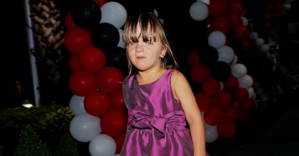 18.fev.2013 - Rafaela Justus, filha de Roberto Justus e Ticiane Pinheiro, prestigiou o aniversário de João Guilherme, filho de Faustão