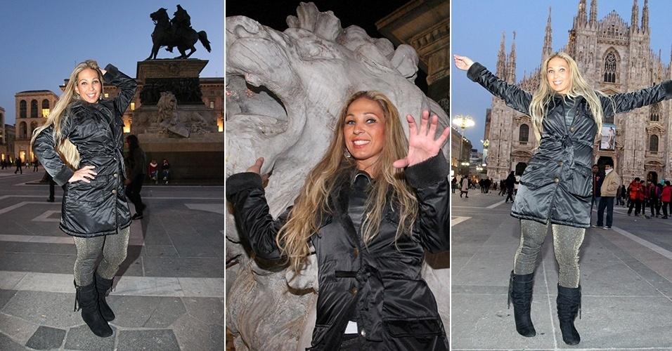 18.fev.2013 - Valesca Popozuda posa para fotos na catedral de Duomo, Milão