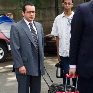 O ex-seminarista Gil Rugai (à esq.) chega ao Fórum Criminal da Barra Funda