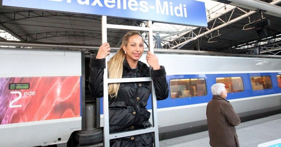 20.fev.2013 - Em turnê pela Europa, Valesca Popozuda desembarcou em Bruxelas, Bélgica