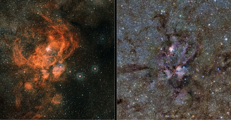20.fev.2013 - Nova imagem em infravermelho da Nebulosa da Lagosta mostra as nuvens brilhantes de gás e os filamentos de poeira escura ao redor de estrelas jovens e quentes que nascem nessa região da Constelação do Escorpião, a 8 mil anos-luz da Terra - esses detalhes não podem ser vistos no campo visível (à direita). Os dados infravermelhos da NGC 6357 (à esquerda) foram obtidos pelo telescópio Vista, do Observatório Europeu do Sul (ESO, na sigla em inglês), instrumento que mapeia a Via Láctea para determinar sua estrutura e explicar sua formação