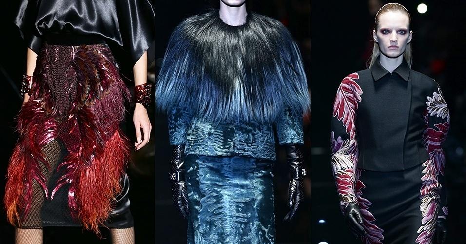 Detalhes de peças da Gucci para o Inverno 2013 desfilados durante a semana de moda de Milão (20/02/2013)