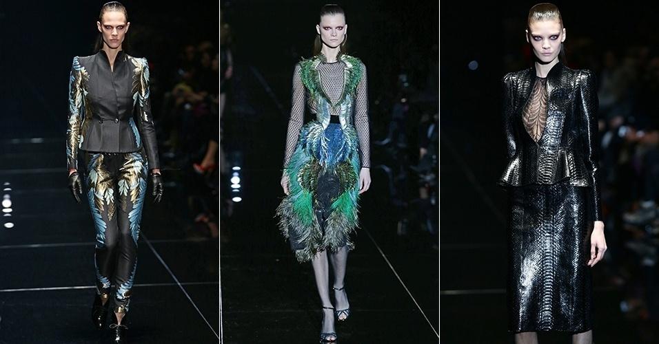 Modelos apresentam looks da Gucci para o Inverno 2013 durante a semana de moda de Milão (20/02/2013)