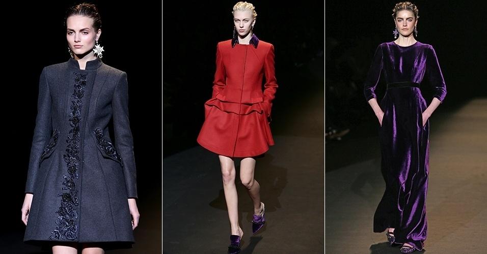 Modelos apresentam looks de Alberta Ferretti para o Inverno 2013 durante a semana de moda de Milão (20/02/2013)