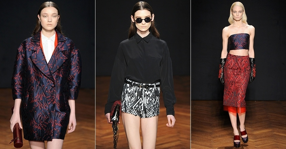 Modelos apresentam looks de Frankie Morello para o Inverno 2013 durante a semana de moda de Milão (20/02/2013)