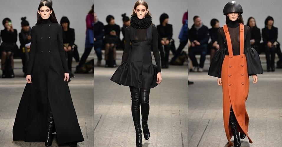 Modelos apresentam looks de Mila Schön para o Inverno 2013 durante a semana de moda de Milão (20/02/2013)