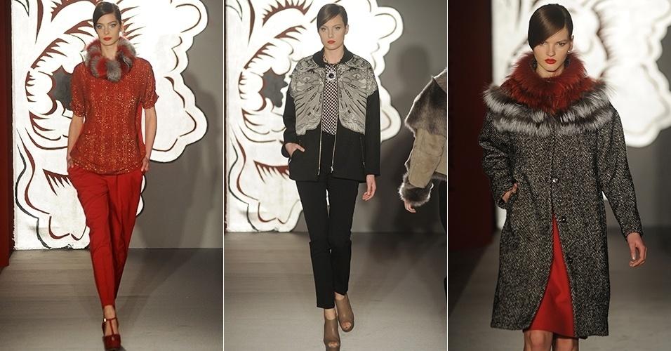 Modelos apresentam looks de Paola Frani para o Inverno 2013 durante a semana de moda de Milão (20/02/2013)