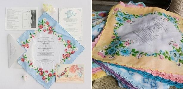 Convite de casamento em lenço da loja norte-americana Lucky Luxe Correspondence