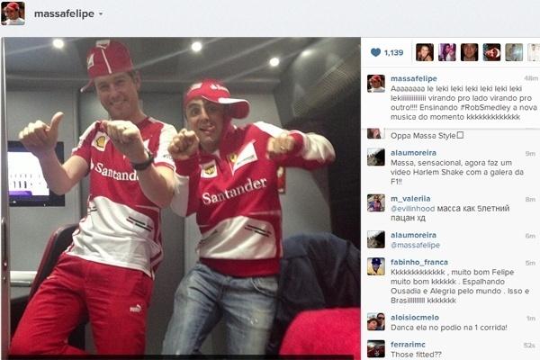 Felipe Massa faz o engenheiro Rob Smedley dançar o Passinho do Volante durante testes em Barcelona
