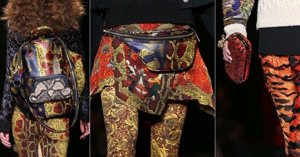 Modelos apresentam acessórios da Just Cavalli para o Inverno 2013 durante a semana de moda de Milão (21/02/2013)