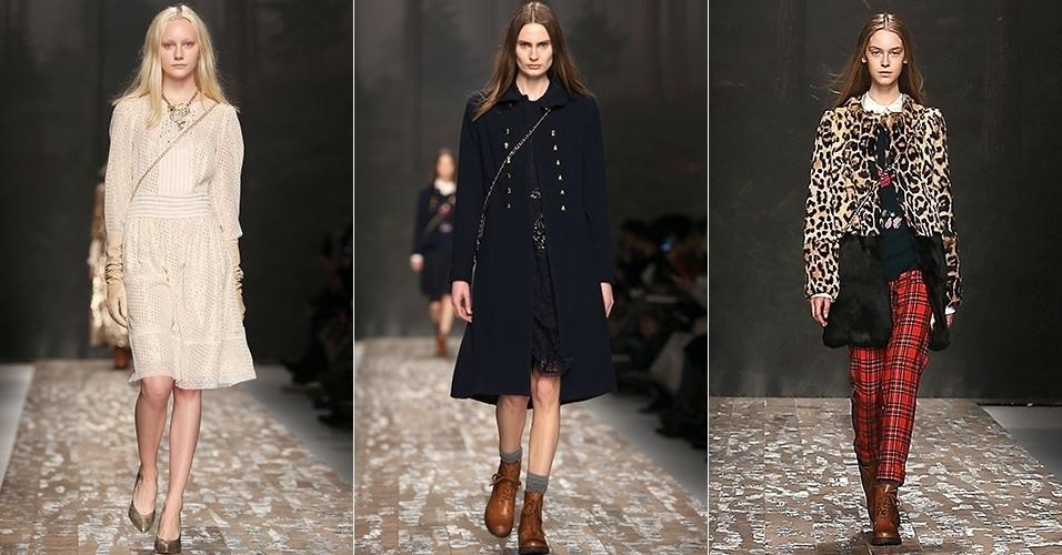 Modelos apresentam looks da Blugirl para o Inverno 2013 durante a semana de moda de Milão (21/02/2013)