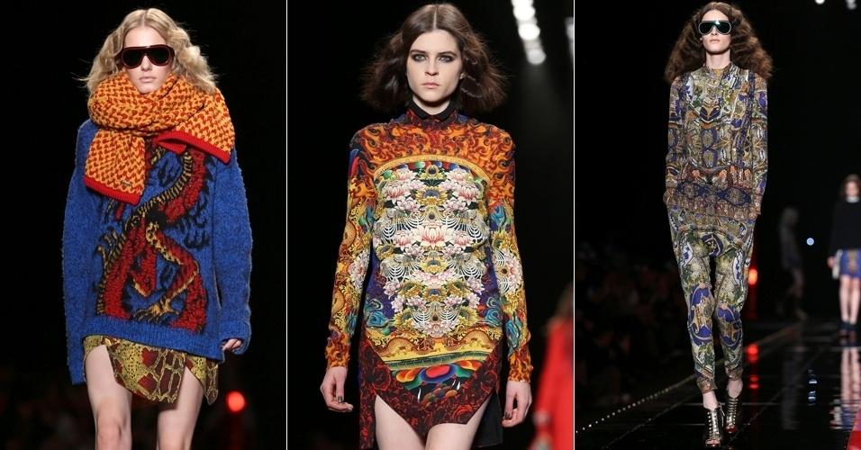 Modelos apresentam looks da Just Cavalli para o Inverno 2013 durante a semana de moda de Milão (21/02/2013)