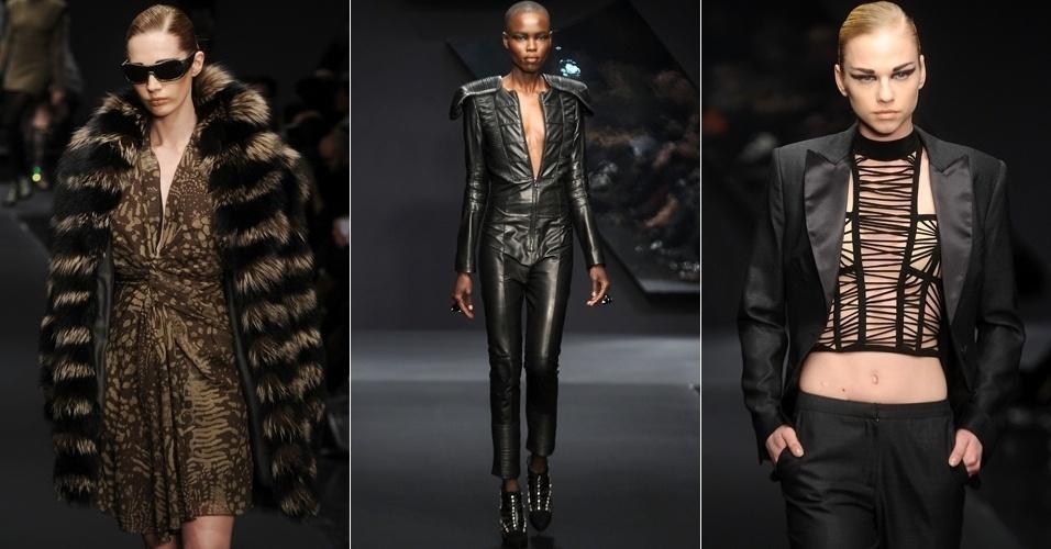 Modelos apresentam looks da Krizia para o Inverno 2013 durante a semana de moda de Milão (21/02/2013)