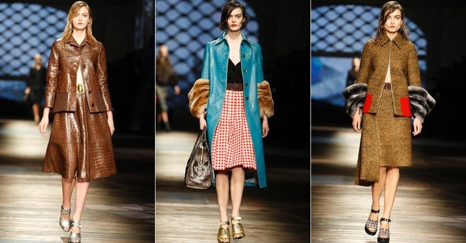 Modelos apresentam looks da Prada para o Inverno 2013 durante a semana de moda de Milão (21/02/2013)