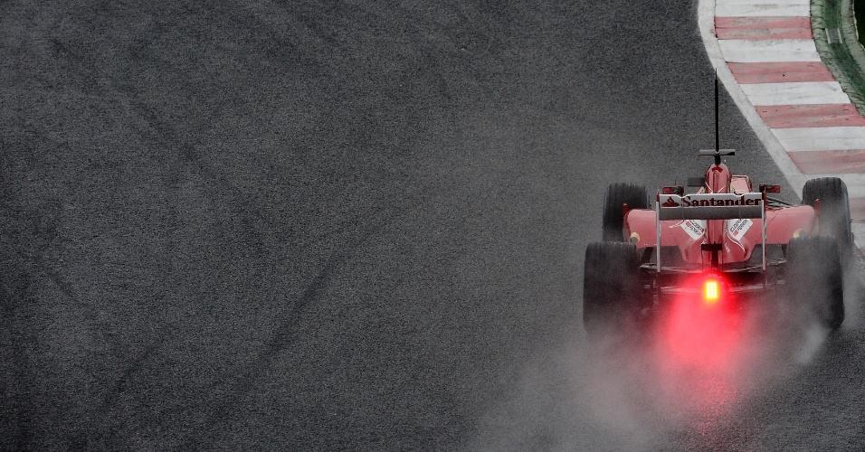 22.fev.2013 - Felipe Massa teve problemas para andar no asfalto molhado do circuito de Barcelona