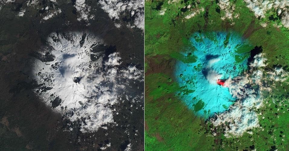 22.fev.2013 - Satélite da Nasa (Agência Espacial Norte-Americana) registrou o vulcão do Monte Etna, na Itália, entrando em erupção. A imagem foi feita em ondas infravermelhas e, posteriormente, colorizada para diferenciar a lava (vermelho), a neve (azul), as nuvens (branco) e a floresta ao redor (verde). A agência diz que registrou três explosões em 36 horas, entre os dias 19 e 20 de fevereiro