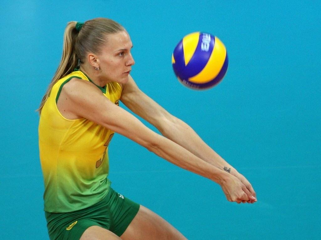 Mari durante partida da seleção brasileira nos Jogos Olímpicos de Pequim-2008