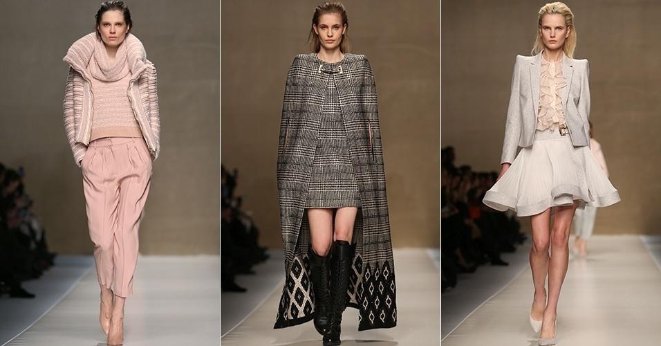 Modelos apresentam looks da Blumarine para o Inverno 2013 durante a semana de moda de Milão (22/02/2013)
