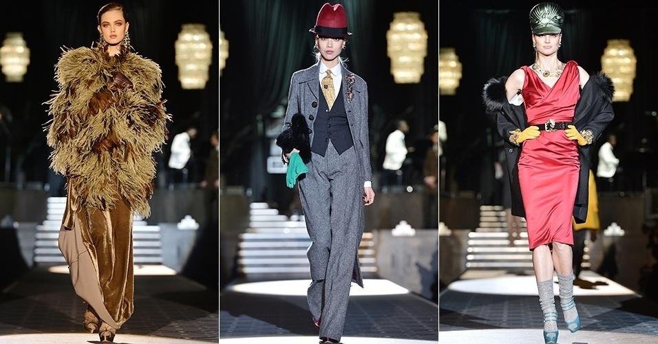 Modelos apresentam looks da DSquared2 para o Inverno 2013 durante a semana de moda de Milão (21/02/2013)