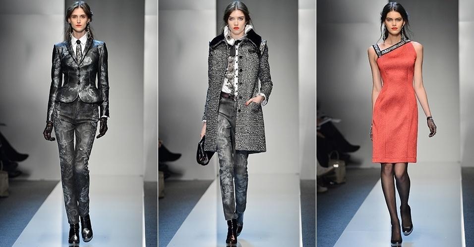 Modelos apresentam looks da RoccoBarocco para o Inverno 2013 durante a semana de moda de Milão (22/02/2013)