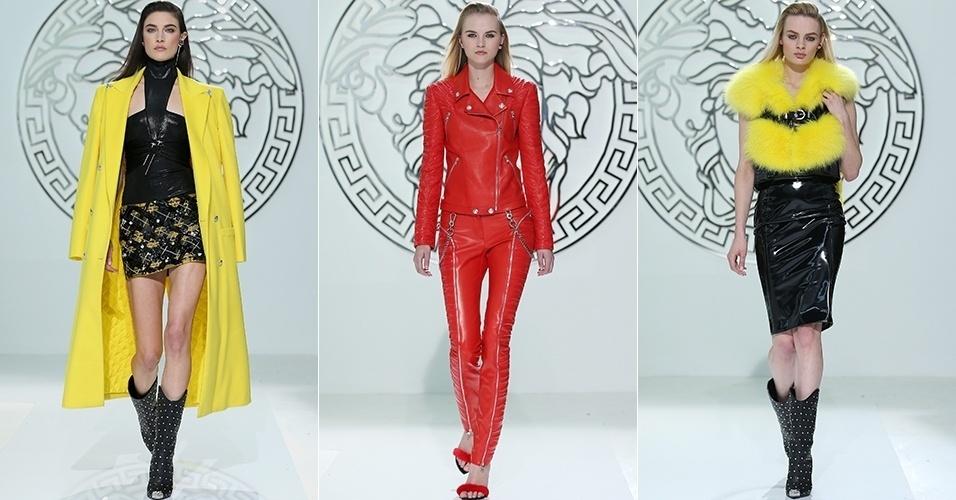 Modelos apresentam looks da Versace para o Inverno 2013 durante a semana de moda de Milão (22/02/2013)
