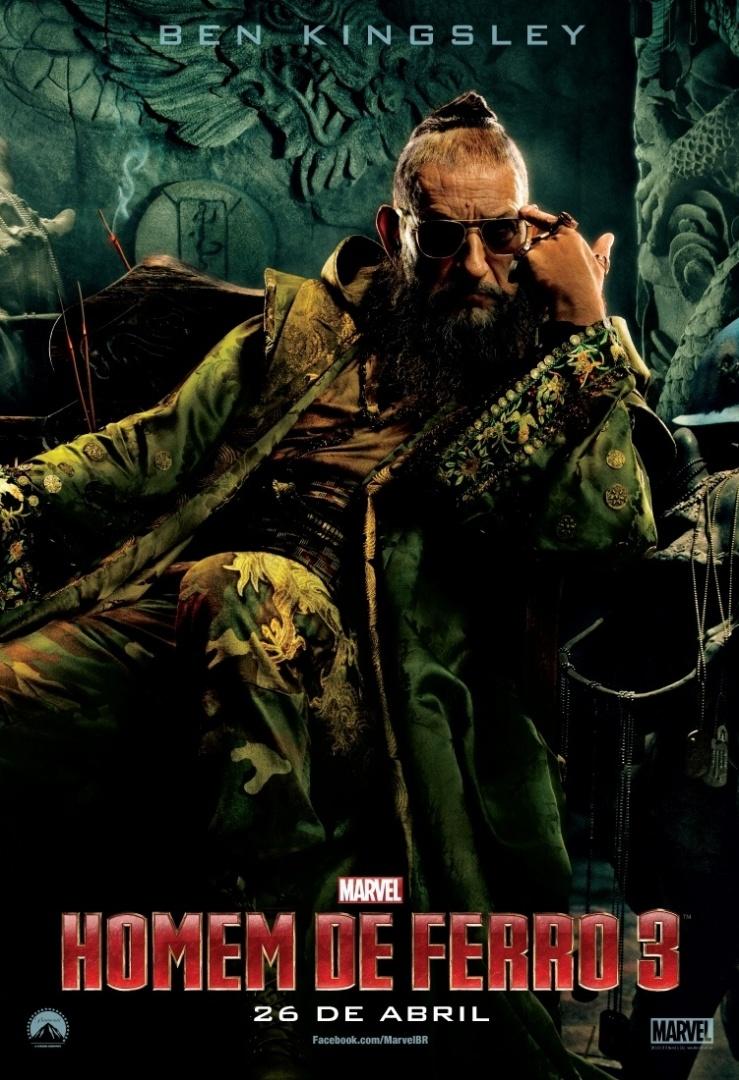O ator Ben Kingsley aparece como o vilão Mandarim em novo pôster de