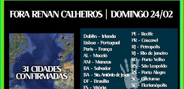 Protesto contra Renan Calheiros ocorre neste domingo em 28 cidades do Brasil e 3 no exterior