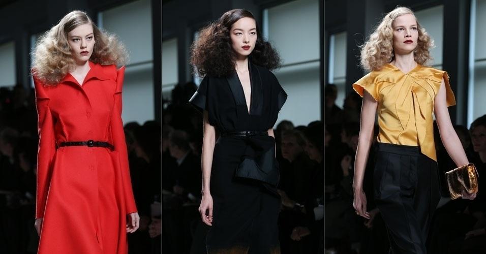 23 fev. 2013 - A grife Bottega Veneta levou para a Semana da Moda de Milão modelos com ar vintage, peças lisas, mas com recortes extravagantes