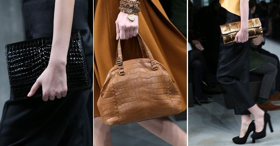 23 fev. 2013 - Detalhe com as bolsas que estiveram nas mãos das modelos que desfilaram a coleção grife Bottega Veneta na Semana da Moda de Milão