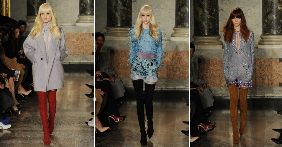23 fev. 2013 - Emilio Pucci levou às passarelas da Semana de Moda de Milão peças com muitas cores. Os macacões curtinhos foram usados com botas altíssimas